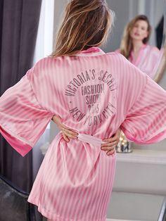 Victoria's Secret 2015 Fashion Show Pink Stripe Kimono Robe with bling-NWT