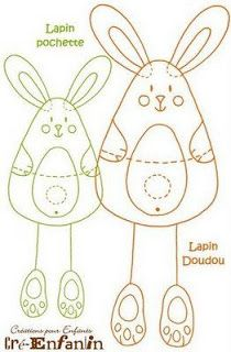 Easter Bunny Rabbit (pattern) - maybe construction paper for an easter craft? Felt Crafts, Easter Crafts, Fabric Crafts, Felt Patterns, Applique Patterns, Softies, Motifs D'appliques, Diy Ostern, Sewing Toys