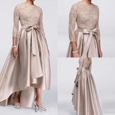 2019 High Low Mother of the Bride Dress Three Quarter Sleeve Beaded Lace Satin Formal Party Gowns Wedding Guest Dress Long Sleeve Evening Dresses, Evening Dresses Plus Size, Evening Party Gowns, Plus Size Dresses, Mother Of Groom Dresses, Bride Groom Dress, Mothers Dresses, Mother Of The Bride Dresses Plus Size, Prom Dress Black