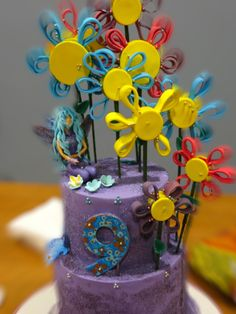 Whimsical violet and fairies by Sweet Madness Cake Designs
