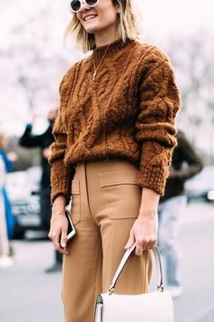 In love with this cable knit sweater and tan pants..