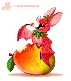 Daily Paint Fruit Bat by Cryptid-Creations on DeviantArt Cute Food Drawings, Cute Animal Drawings, Kawaii Drawings, Leprechaun, Animal Puns, Animal Food, Fruits Drawing, Fruit Bat, Cute Creatures
