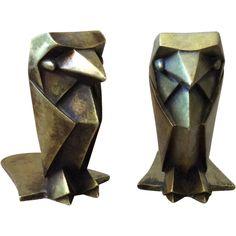Art Deco Brass Falcon Bookends, RARE