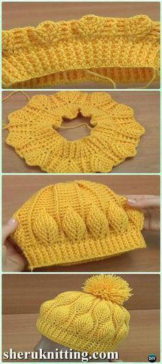 DIY Crochet Beanie Hat Free Patterns Baby Winter Hat Crochet Baby Hats Crochet Embossed Leaf Beanie Free Pattern – Croch… Check more at www. Crochet Beanie Hat Free Pattern, Bonnet Crochet, Crochet Baby Hats, Diy Crochet, Crochet Crafts, Crochet Clothes, Baby Knitting, Free Knitting, Crochet Cable