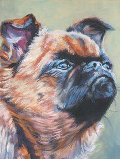 Brussels Griffon dog art portrait CANVAS print of LA Shepard painting 12x16 on Etsy, $39.99