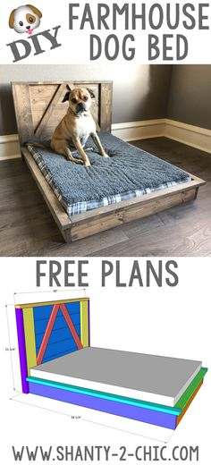 Build this custom DIY Farmhouse Dog Bed with Free plans from www.shanty-2-chic.com! Easy-to-follow instructions and a how-to video!