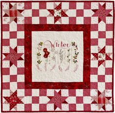 Winter Sampler, embroidered wall hanging pattern by Meg Hawkey at Crabapple hill Studio