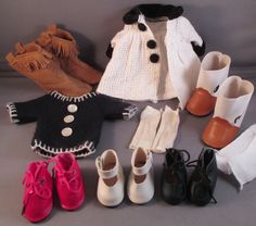 Antique & Vintage Doll Shoes Clothes Lot Duck Boots Faux Suede Fringe Socks  #Unbranded
