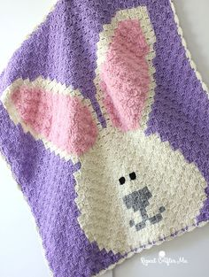 Crochet Bunny Blanket (Repeat Crafter Me) Crochet Bunny Blanket. Another great crochet & yarn craft from Repeat Crafter Me! Crochet Square Pattern, Easter Crochet Patterns, Crochet Bunny, Crochet Yarn, Free Crochet, Ravelry Crochet, Crochet Zebra, Crochet Daisy, C2c Crochet Blanket