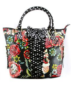 Iron Fist Hooters Polka Dot Sugar Skull Print Rockabilly Corset Vegan Handbag Purse
