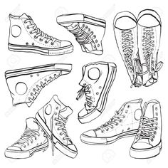 Sneakers drawing hand drawn New ideas Art Reference Poses, Drawing Reference, Poses References, Drawing Clothes, Drawing Of Shoes, Sneakers Drawing, Sneakers Sketch, Drawing Techniques, Drawing Tips