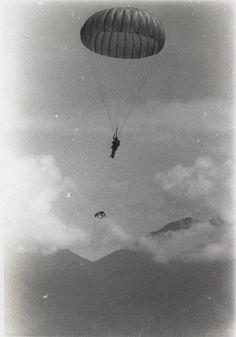 Sgt Spano makes a parachute jump with his war dog, Lobo, 1968. Vietnam. #VietnamWarMemories