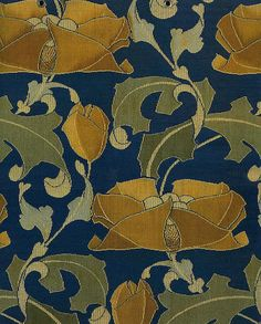 Charles Francis Annesley Voysey  was an English architect and furniture and textile designer. His patterns are brilliantly designed with great color combinations and scale.  His art Nouveau flower and leaf design is timeless