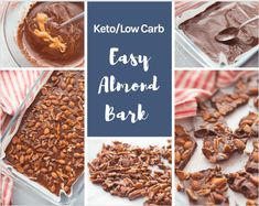 Make my Keto Easy Chocolate Almond Bark Recipe in just minutes! This homemade keto candy bar idea is perfect to satisfy cravings! Sugar Free Desserts, Low Carb Desserts, Sweets Recipes, Easy Desserts, Low Carb Recipes, Sweet Desserts, Healthy Recipes, Chocolate Almond Bark, Delicious Chocolate