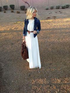 white dress and dark denim jacket
