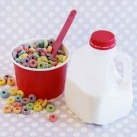 So cute...so they don't have to lift a gallon jug. Mini Milk Jugs