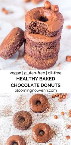 Healthy Baked Chocolate Donuts for a no-guilt treat! Vegan donuts with whole ingredients (Gluten-free, oil-free) Vegan Gluten Free Desserts, Gluten Free Treats, Vegan Dessert Recipes, Donut Recipes, Vegan Treats, Gluten Free Baking, Vegan Snacks, Healthy Baking, Snack Recipes