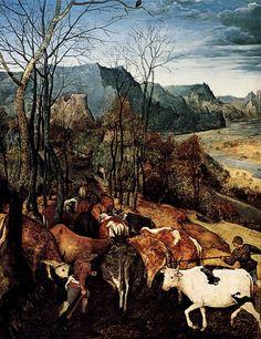 The Return of the Herd (detail), Pieter Bruegel the Elder. Flemish Northern Renaissance Painter (ca 1525 - 1569)