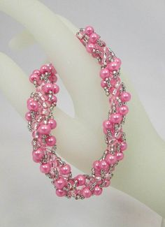 Pink & Grey Seed Beads with Pink Pearls Woven Spiral Rope Bracelet
