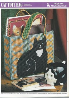 Black Cat & Fish Tote Bag Plastic Canvas by needlecraftsupershop,