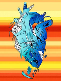 Beautiful human heart drawing art pieces illustrated by visual artist and illustrator Kenal Louis. An art series with representations of the heart.