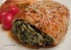 Baked Flounder Stuffed w/ Spinach & Cheese