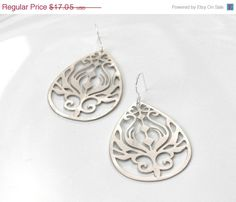 10 off SALE Art Nouveau Earrings  silver plated by GojoDesign, $15.35