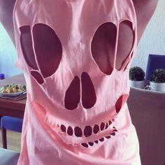 girl. skull. diy. tshirt.