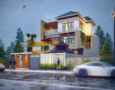 Biệt thự anh Việt. 10mx20m on Behance Modern Small House Design, Classic House Design, House Architecture Styles, Architecture Design, 30x40 House Plans, Tree House Interior, House Design Pictures, Home Building Design, Bungalow House Design