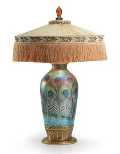 TIFFANY STUDIOS Favrile Glass and Gilt-Bronze Table Lamp, circa 1920   with original silk shade