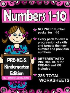 VIEW A FREE SAMPLE OF THIS PRODUCT- Number 3-Math Worksheet-PRE-KG+KG FREEBIE. This resource targets number sense for number 1-10 and includes  over 280 WORKSHEETS   to teach and reinforce number concepts for 1-10.