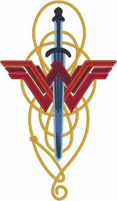 Wonder Woman lasso & sword machine embroidery design Stitches: 23304 Size: 4 x 6 This is not a finished product. This is a machine embroidery design file. You must have an embroidery machine to work with these files. YOU MUST HAVE THE REQUI Wonder Woman Art, Wonder Woman Kunst, Wonder Women, Wonder Woman Tattoos, Wonder Woman Comic, Wonder Woman Quotes, Gal Gadot Wonder Woman, Superman Wonder Woman, Wonder Woman Logo
