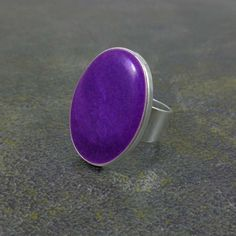 Statement Ring Purple Silver Oval Ring Cocktail Ring by Pilboxx