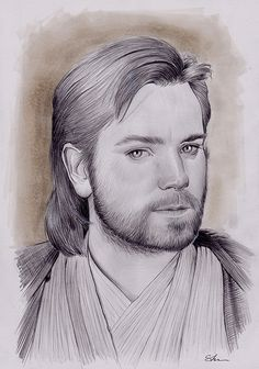 Ewan McGregor, Obi Wan Kenobi, Pencil on paper, inches Ewan Mcgregor, Obi Wan, Pencil, Sketch, Star Wars, Stars, Drawings, Paper, Artwork