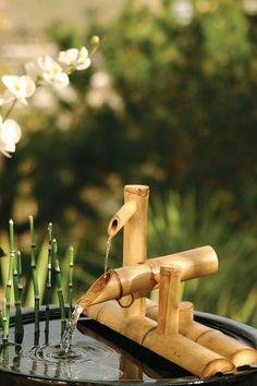 Bamboo Water Fountain, Water Fountain Pumps, Indoor Water Fountains, Indoor Fountain, Water Art, Water Water, Diy Water Feature, Bamboo Crafts, Bamboo Garden