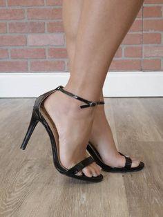 Patent Ankle Strap Sandal - Black