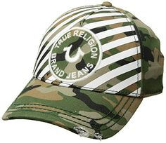 6306c0da7f1 True Religion Striped Camo Baseball Cap  True Religion men s baseball cap  that features a striped front with matching embroidered narrow edge patch.