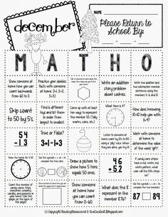 Two Can Do It: Math.Math-O can be used in a variety of ways to keep your students practicing important skills at home during each month of the school year. Math-O is especially useful for helping parents practice important math skills (aligned to Common Core) with children and offers a fun and effective way to keep kids engaged.. At the first of each month send home each month's Math-O sheet, along with the accompanying graph...