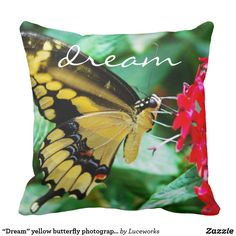 """Dream"" yellow butterfly photography pillow"