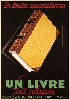 1930 In all occasions a book give pleasure, Swiss vintage advert poster