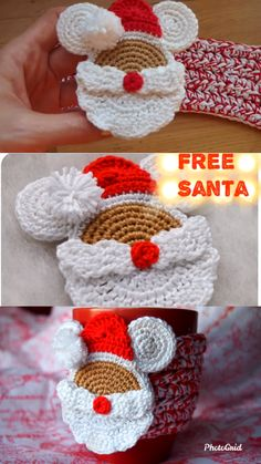 Santa Mouse Cup Cozy Free Crochet Pattern - New Ideas Christmas Crochet Patterns, Crochet Christmas Ornaments, Holiday Crochet, Crochet Gifts, Hand Crochet, Crochet Toys, Knit Crochet, Crochet Santa, Crochet Fall Decor