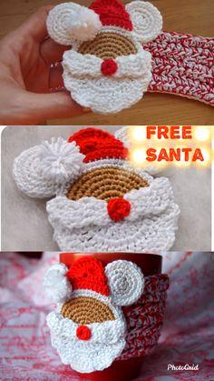 Santa Mouse Cup Cozy Free Crochet Pattern - New Ideas Crochet Christmas Decorations, Crochet Christmas Ornaments, Christmas Crochet Patterns, Holiday Crochet, Noel Christmas, Mickey Christmas, Crochet Fall Decor, Thanksgiving Crochet, Autumn Crochet