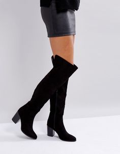 6c5601e6f5d Shop London Rebel Heeled Over The Knee Boot at ASOS. Trendization