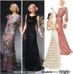 Simplicity-5876-SEWING-PATTERN-OOP-Vintage-Art-Deco-Gown-Dress-30s-40s-6-8-10-12