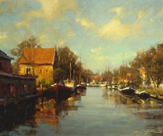 reflection-enkhuizen-holland-24x30_oil-europe-boats by Michael J. Lynch