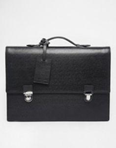 reiss caviar grain leather briefcase  black #accessories #bag #jobinterview #leather #classic #covetme