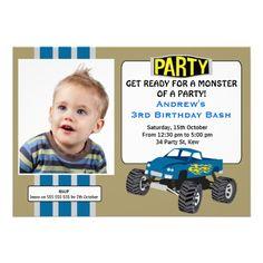 Monster Truck Photo Birthday Party Invitation