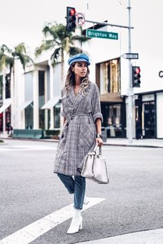 Raquel Allegra plaid trench coat