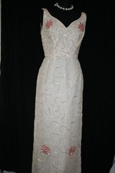 Vintage 50s Beaded Silk Evening Gown Wiggle Dress S #Nolabel
