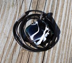 Deep Blue w White Streamers Fused Glass Pendant | HCLTreasures - Jewelry on ArtFire